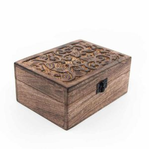Storage Box Sustainable Wood Floral Handmade (18 cm)