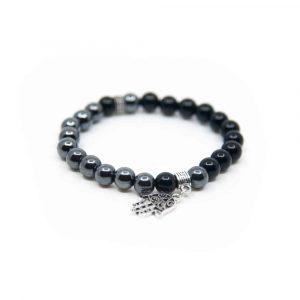 Gemstone Bracelet Hematite with Hamsa Hand