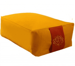 Yogi and Yogini Meditation Cushion Rectangular Cotton Yellow - 3rd Chakra - 38 x 28 x 15 cm