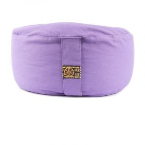 Yogi and Yogini Meditation Cushion Round Cotton Light Purple - 33 x 17 cm