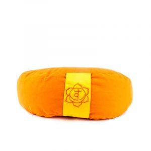 Yogi and Yogini Meditation Cushion Orange Crescent Cotton - 2nd Chakra - 33 x 13 cm