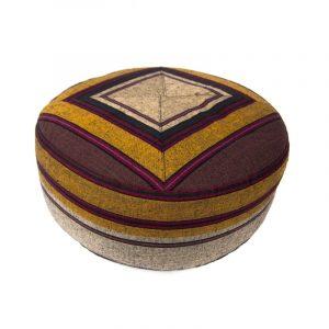 Yogi and Yogini Meditation Cushion Round Cotton Brown - Patterned Grey/Yellow - 33 x 17 cm