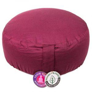Yogi and Yogini Meditation Cushion Round Cotton Aubergine - 33 x 17 cm
