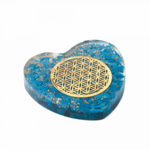 Orgonite Heart Turquoise with Copper Flower of Life
