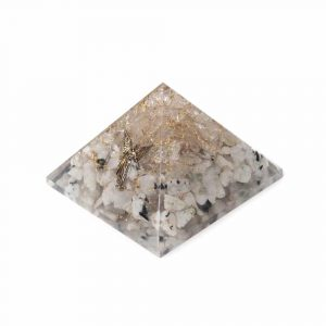 Orgonite Pyramid Rainbow Moonstone & Rock Crystal with Angel (70 mm)