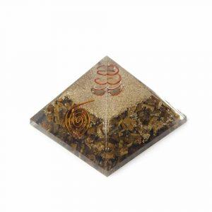 Orgon Pyramid Tiger Eye with Rock Crystal Point (70 mm)