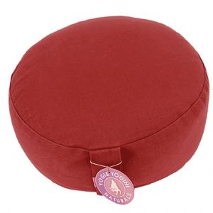 Yogi and Yogini Meditation Cushion Round Cotton Red - 33 x 17 cm