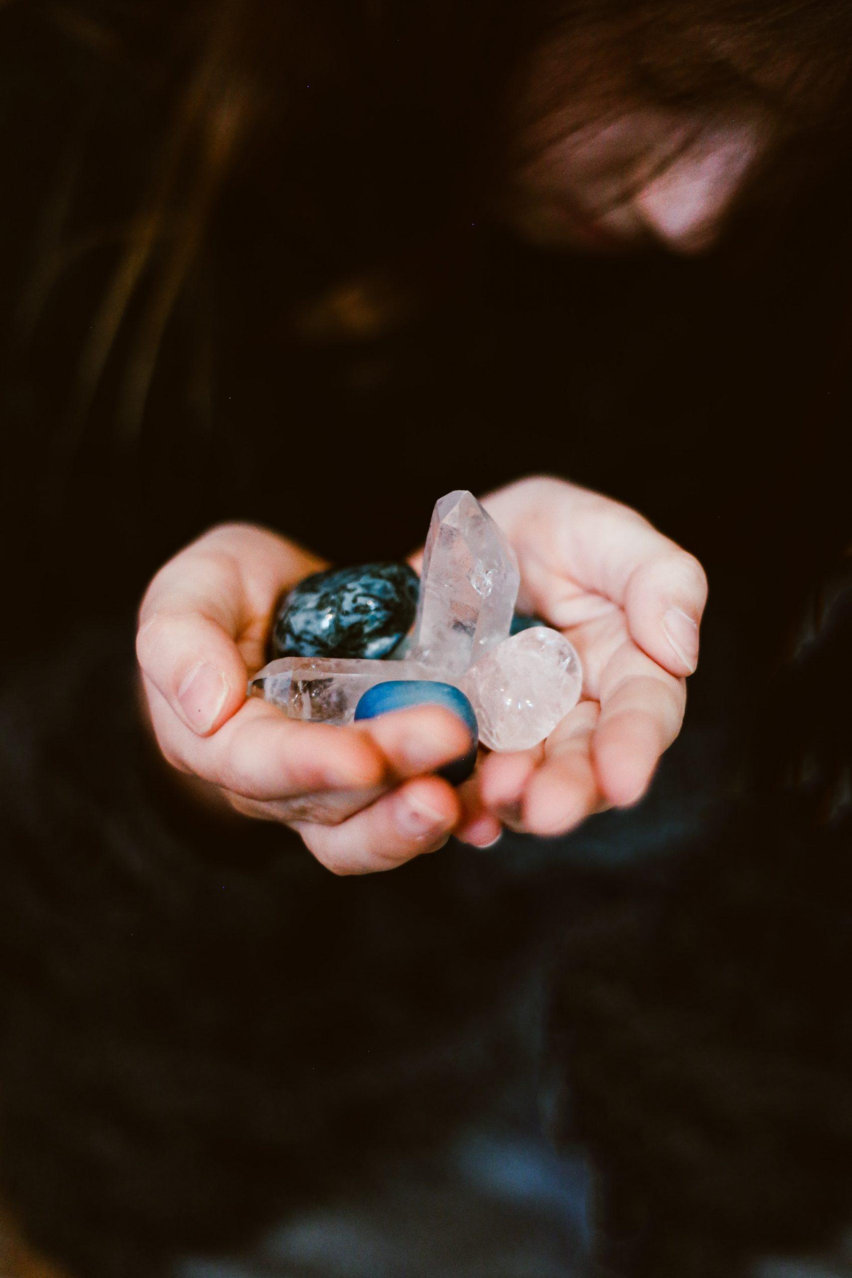 crystals in hands
