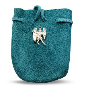 """POUCH - SUEDE  ROUNDED WITH STRAP TQ MIKAEL 3.25"""" x 2.75"""""""