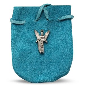 """POUCH - SUEDE  ROUNDED WITH STRAP TQ GABRIEL 3.25"""" x 2.75"""""""