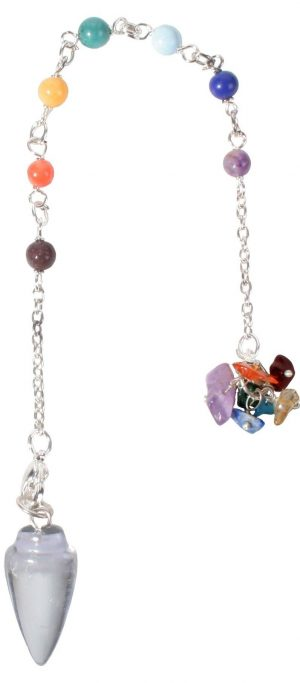 GEMSTONE PENDULUM CHAKRA CHAIN CURVED CLEAR