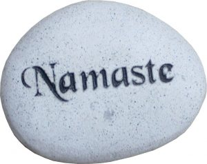 "Carved Stone Pebbles Namaste 3.5"" Dia-17616 //"