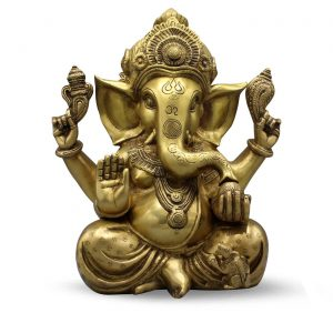 "Ganesh Carved W/ Big Ears & Ring 12"""