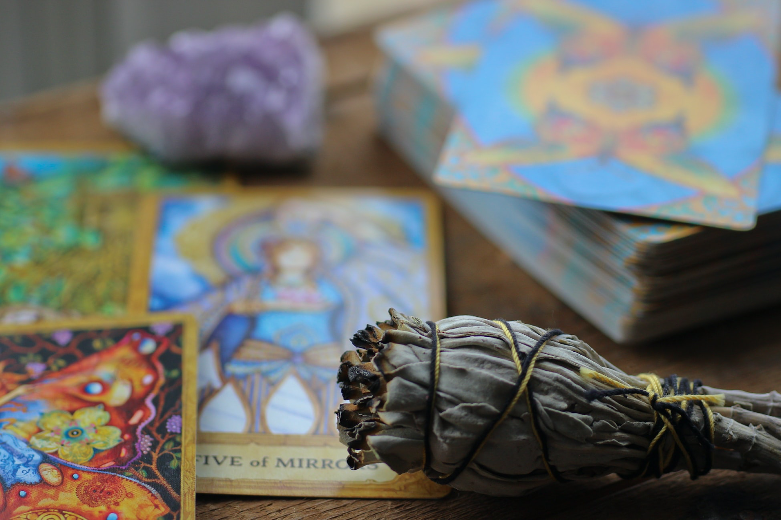 sage and tarot cards