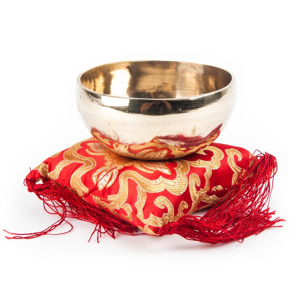 singing bowl red pillow
