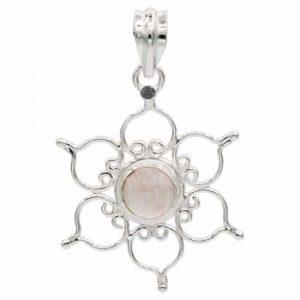 Pendant Lotus 925 Silver with Rose Quartz