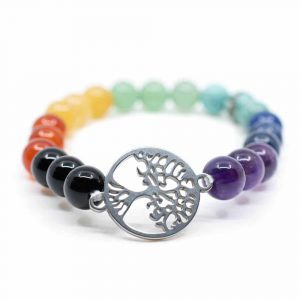 Gemstone Bracelet 7 Chakra with Tree of Life