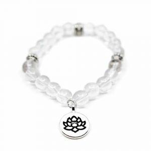 Gemstone Bracelet Rock Crystal Lotus