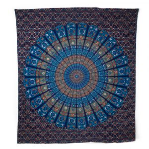 Tapestry Mandala Cotton Blue/ Orange Authentic (240 x 210 cm)