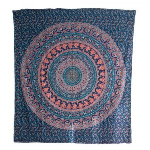 Tapestry Mandala Cotton Blue Animal Empire Authentic (240 x 210 cm)