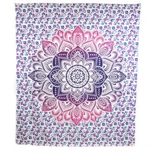 Tapestry Mandala Cotton Blue/Red Authentic (240 x 210 cm)