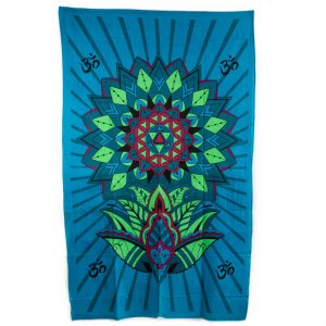 Tapestry Spiritual Cotton Blue Flower with OHM Authentic (215 x 135 cm)