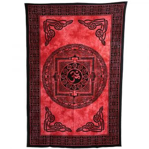 Chakra Tapestry Cotton Red Circle OHM Authentic (215 x 135 cm)