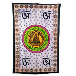 Tapestry Spiritual Cotton with Buddha Sitting in a Circle Authentic (215 x 135 cm)