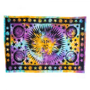 Tapestry Spiritual Cotton with Colourful Sun & Moon Authentic (215 x 135 cm)