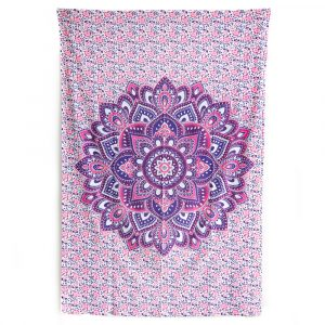 Tapestry Mandala Cotton with Purple and Flowers Authentic (215 x 135 cm)
