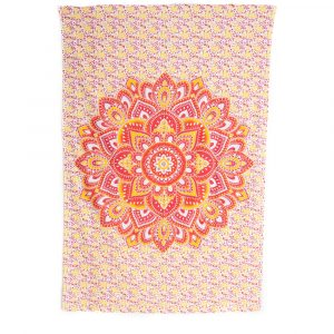 Tapestry Mandala Cotton Red Orange with Flowers Authentic(215x135cm)