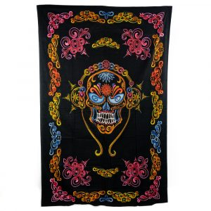 Tapestry Spiritual Cotton Colourful Skull with Headphones Authentic (215 x 135 cm)