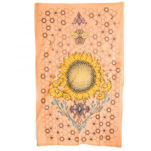 Tapestry Spiritual Cotton Sunflower and Bee Authentic (215 x 135 cm)