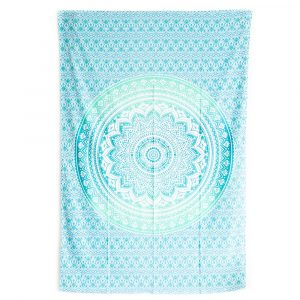 Tapestry Mandala Cotton Green/Blue Authentic (215 x 135 cm)