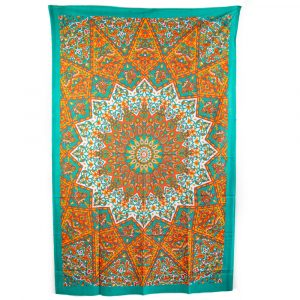 Tapestry Mandala Cotton Orange/Blue Authentic (215 x 135 cm)