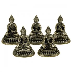 Dhyani Buddha Statuettes - 10 Cm (set Of 5 - 330 Gram)
