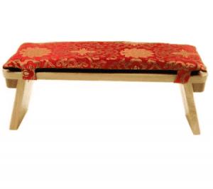 Meditation Bench Cushion Red-golden Lotus