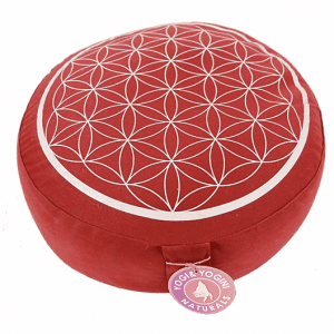 Meditation Cushion Red-silver Flower Printing