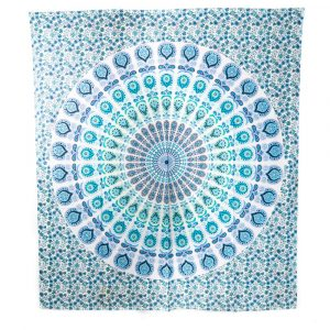 Tapestry Mandala Cotton Blue/Green Authentic (240 x 210 cm)