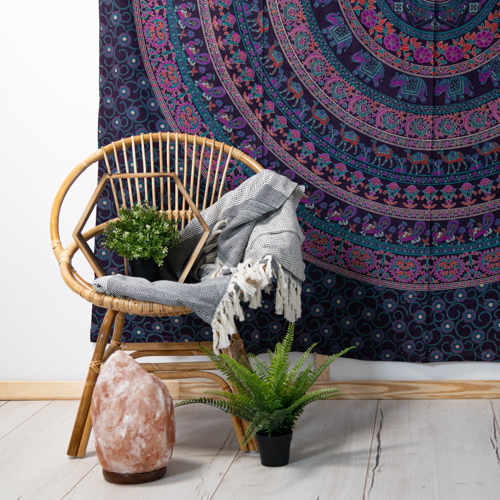 mandala tapestry rattan chair salt lamp boho style