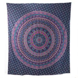 Tapestry Mandala Cotton Purple with Elephants Authentic (240 x 210 cm)