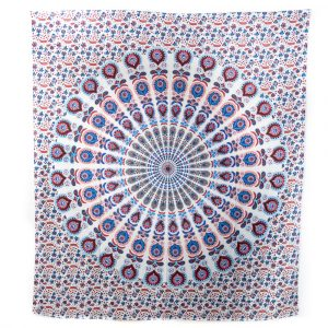 Tapestry Mandala Cotton Red/Blue Authentic (240 x 210 cm)