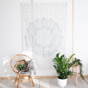 Tapestry Mandala Cotton Silver/White Authentic (215 x 135 cm)