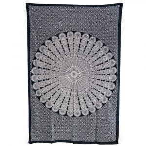 Tapestry Mandala Cotton Black/White Authentic (215 x 135 cm)