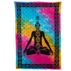 Chakra Tapestry Cotton Colourful Meditation Authentic (215 x 135 cm)