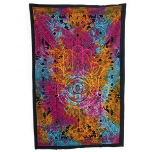 Tapestry Spiritual Cotton Colourful Hamsa Hand Authentic (215 x 135 cm)