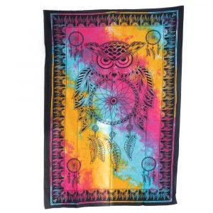 Owl Tapestry Cotton Colourful Dreamcatcher Authentic (215 x 135 cm)