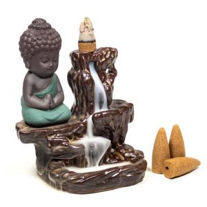 Backflow Waterfall Incense Burner Small Buddha