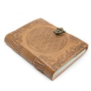 Handmade Leather Notebook with Flower of Life (17.5 x 13 cm)