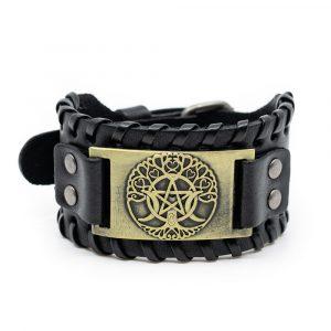 Viking Adjustable Bracelet Norse Tree of Life & Pentagram Imitation Leather